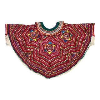 Vintage Mayan Embroidered Huipil With Star Motif For Sale