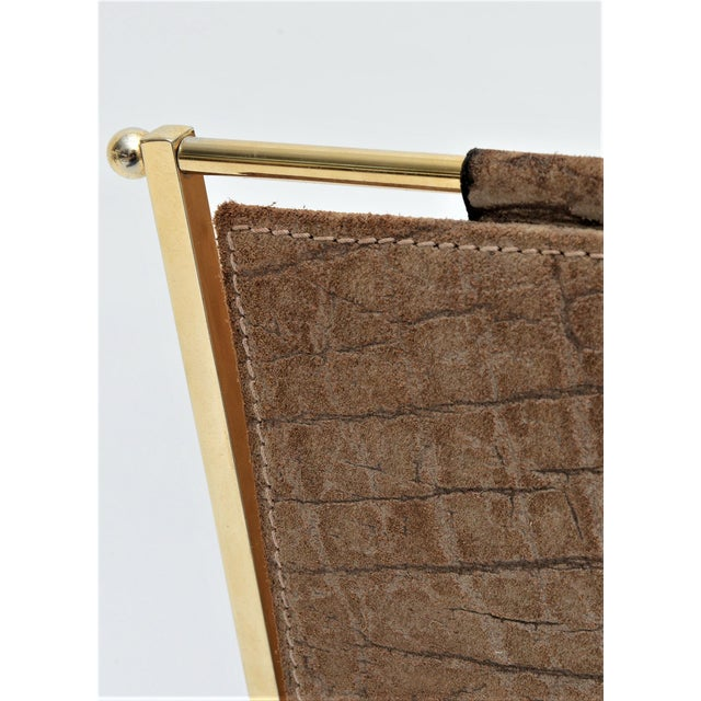Vintage French Elephant Embossed Suede Leather and Brass Magazine Holder Inspired by Jacques Adnet Mid Century Modern MCM Millennial - Image 9 of 11