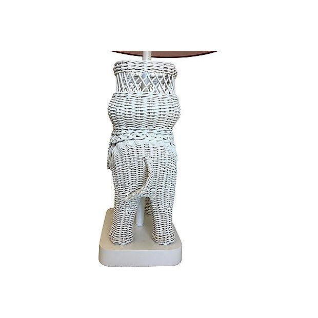Art Glass Hanson Wicker Elephant Lamp & Shade For Sale - Image 7 of 8