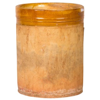 Yellow Banded Clay Pot From Early 20th Century England For Sale