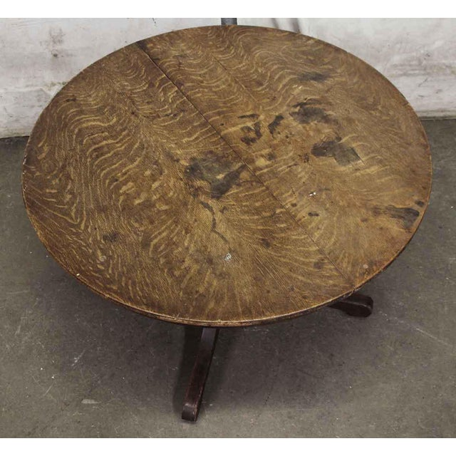 Traditional 20th Century Traditional Round Oak Top Wood Table For Sale - Image 3 of 6