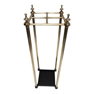 20th Century Victorian Polished Brass and Cast Iron Umbrella Stand Valet For Sale