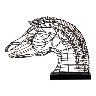 Mid Century Iron Wire Horse Sculpture For Sale