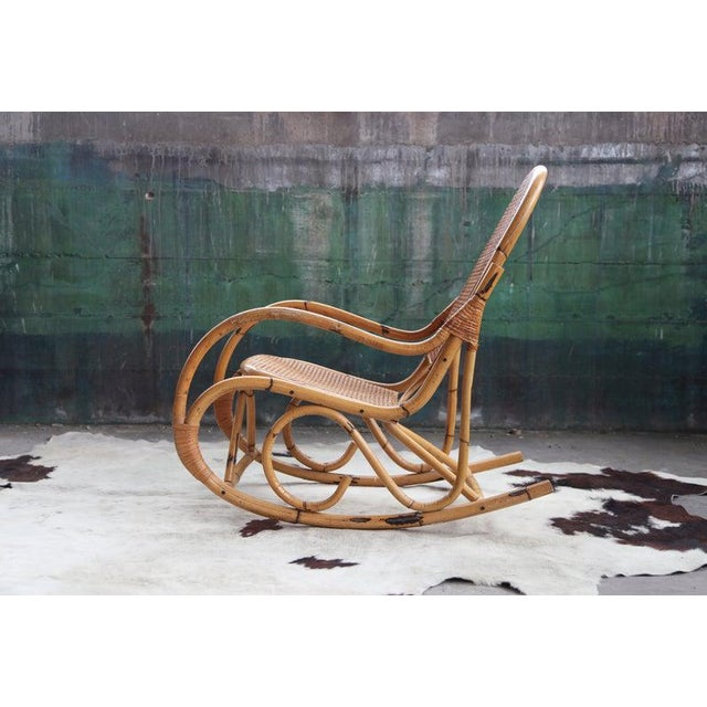 Mid-Century Modern Mid-Century Hollywod Regency Boho Style Chic Rocking Chair For Sale - Image 3 of 11
