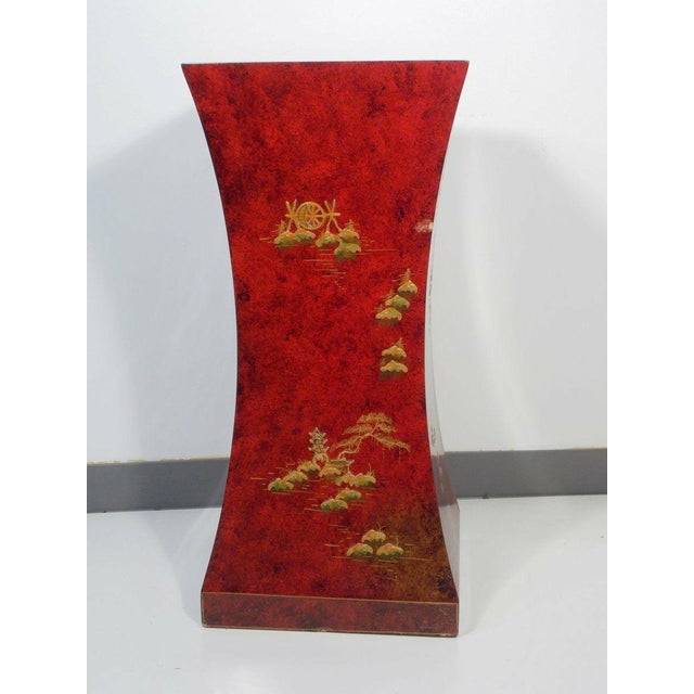 1970's Vintage Red Asian Style Pedestal For Sale - Image 6 of 13
