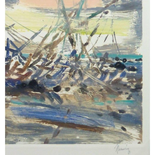 Striking monotype painting of an abstract boat, using a vast array of bright hues by French artist Chauvin, 1969. Signed...
