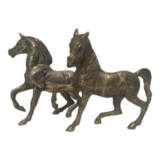 Solid Metal Bronze Color Horse Figurines - a Pair For Sale