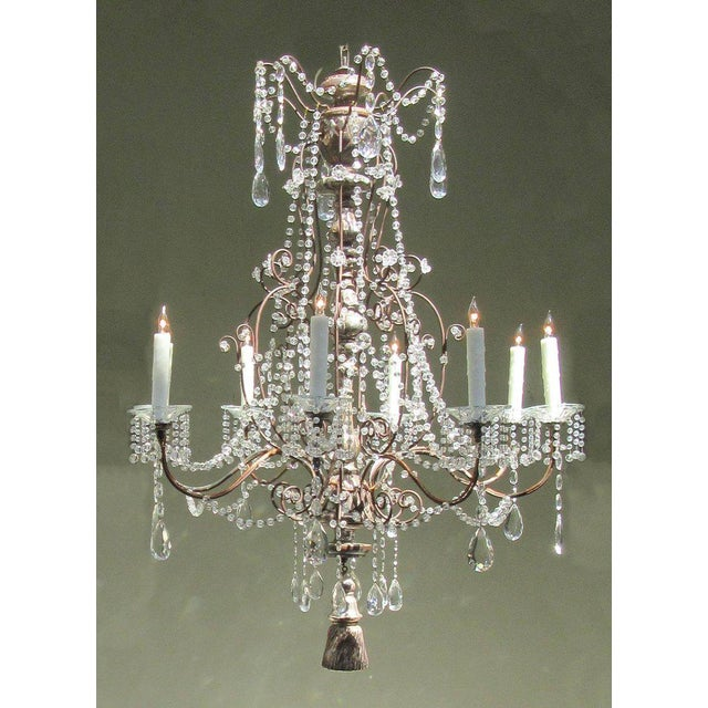 19th Century Italian Baroque Silver Leaf and Crystal Chandelier with Tassel For Sale - Image 5 of 10