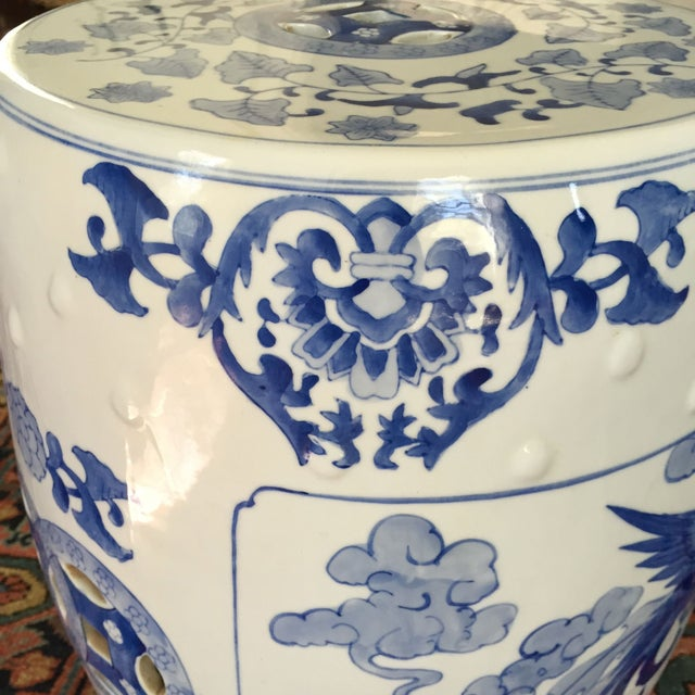 Large Chinoiserie Ceramic Garden Stool - Image 8 of 9