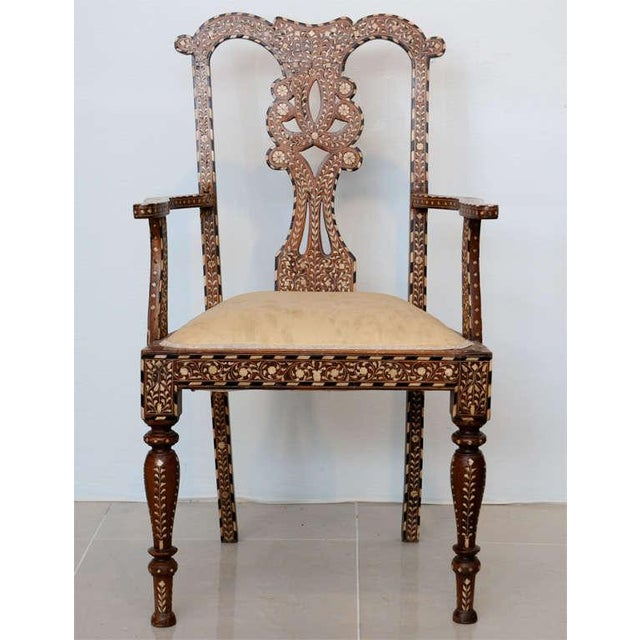 Rare Set of Four Anglo-Indian Hardwood and Bone Inlaid Armchairs For Sale In Miami - Image 6 of 11