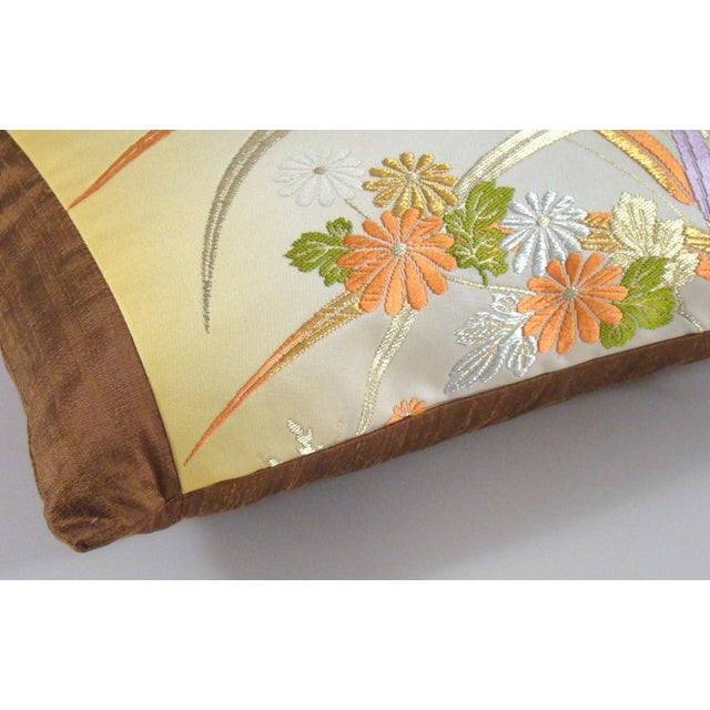 Japanese Obi Yellow Ombre Streamside Floral Lumbar Pillow Cover For Sale - Image 4 of 7