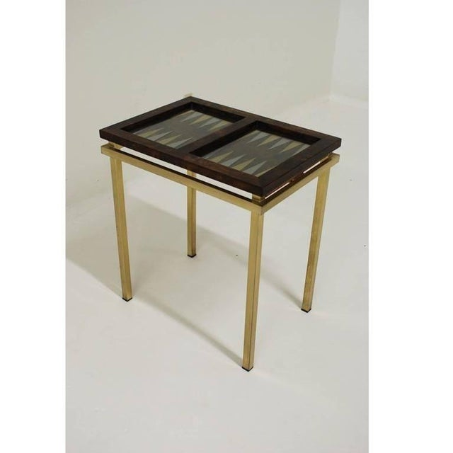 Mid-Century Modern Burl Wood and Brass Backgammon Game Table For Sale - Image 3 of 9