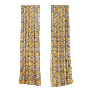 Dana Gibson Yellow Botanical Curtains For Sale