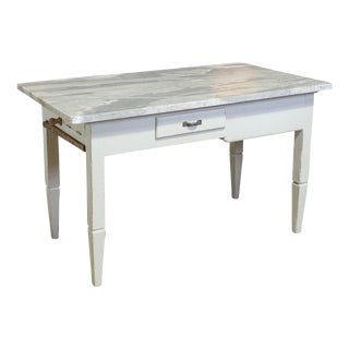 Vintage Italian Marble Top Kitchen Table