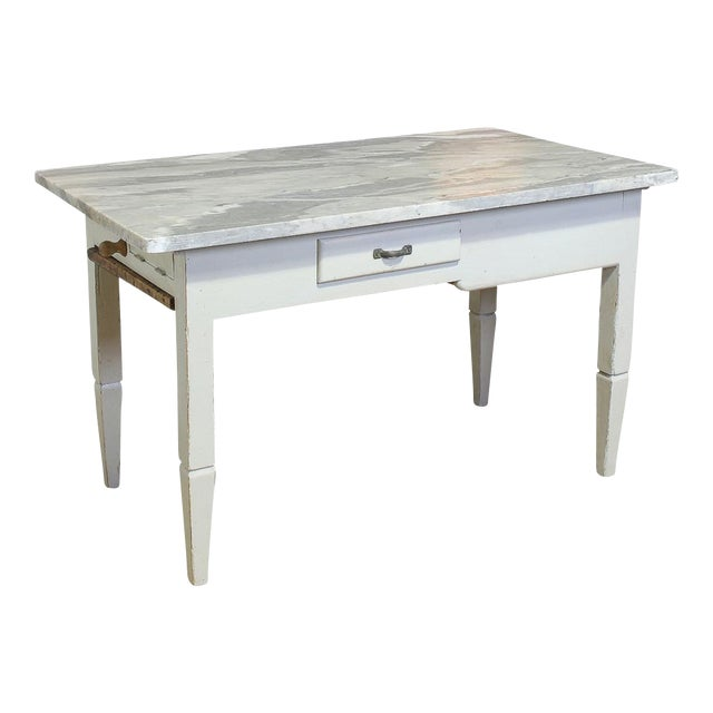 Vintage Italian Marble Top Kitchen Table For Sale
