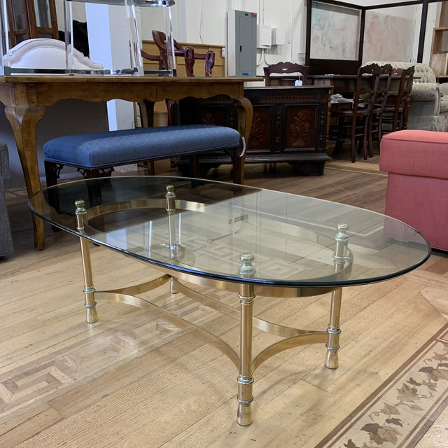 French Maison Jenson Style Polished Brass + Glass Coffee Table For Sale - Image 3 of 9