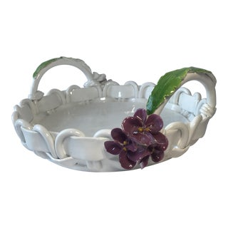 Italian Majolica Basketweave Platter For Sale