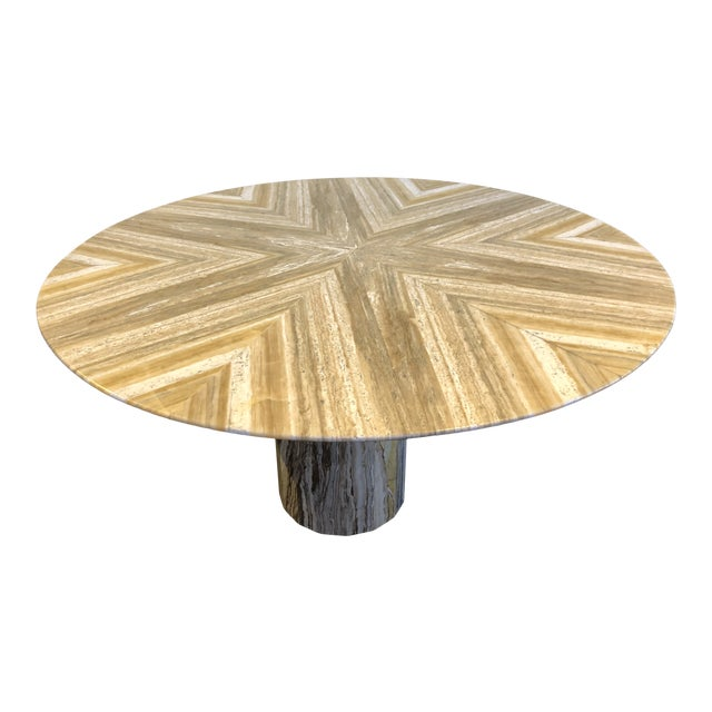 1980s Contemporary Italian Travertine Stone Table For Sale