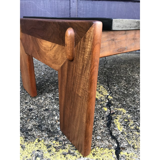 Wood Restored Adrian Pearsall Walnut Slate Coffee Table Craft Associates For Sale - Image 7 of 12