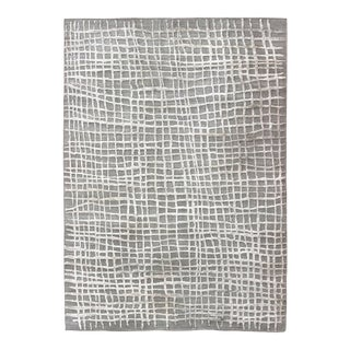 Modern High-Low Texture Large Rug in Minimalist Design With Taupe and White For Sale