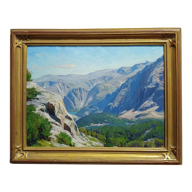 1970s Vintage Taylor Lynde Montana Lake Scenery Oil Painting For Sale