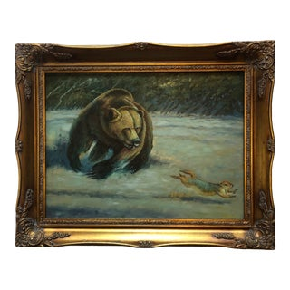 20th Century Original Bear Oil Painting For Sale
