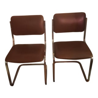 Bertolini Leather Cantilever Chairs - A Pair For Sale