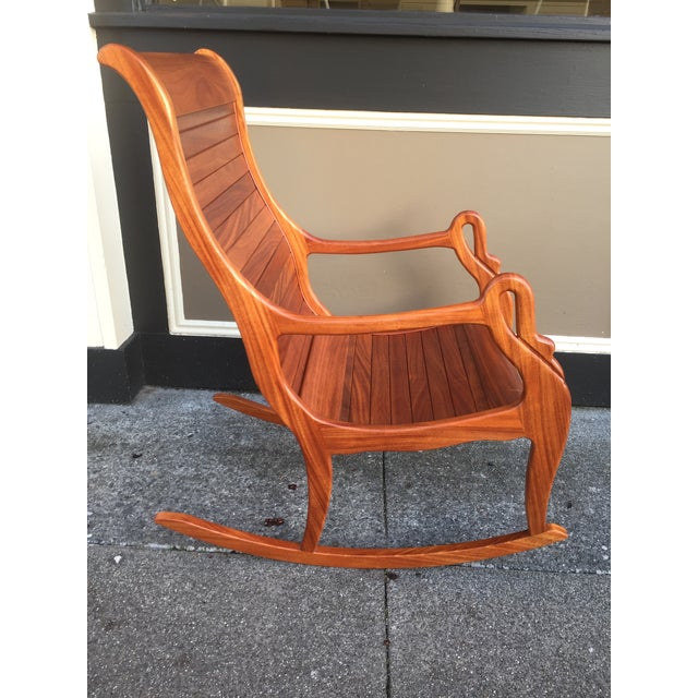 Solid Cherry Wood Rocking Chair For Sale - Image 6 of 11