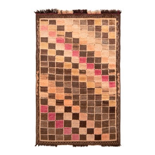 Hand-Knotted Mid-Century Vintage Gabbeh Rug in Beige Brown Geometric Pattern For Sale