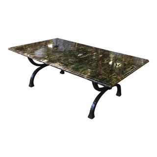 Marble Top Custom Iron Base Dining Table