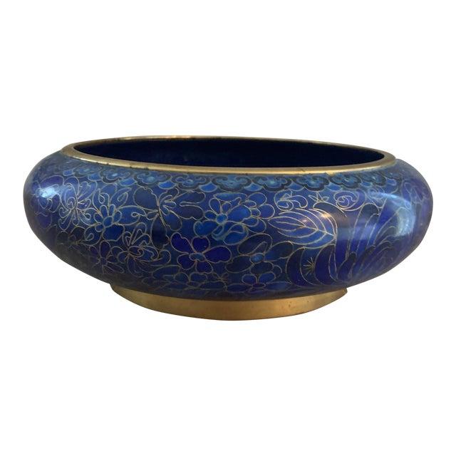 Cobalt Blue Chinese Cloisonné Bowl For Sale