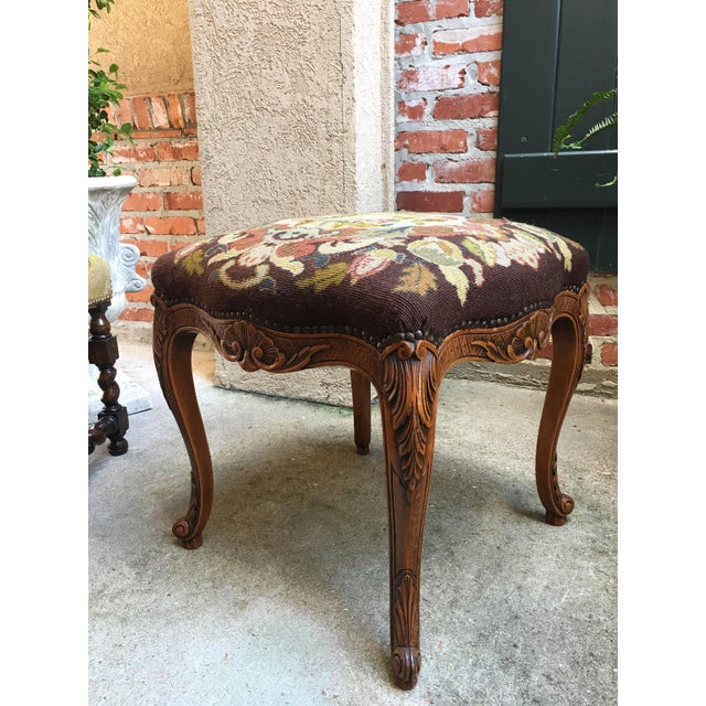 French 1900s Antique French Carved Oak Stool/Bench For Sale - Image 3 of 10