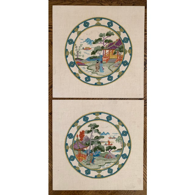 Vintage Chinoiserie Crewl Needlepoint Art Works - a Pair For Sale - Image 12 of 12