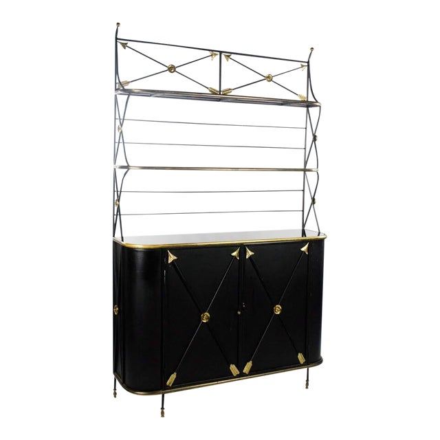 Modern Campaign Style Bakers Rack and Cabinet For Sale
