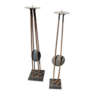 Vintage Artisan Signed Wrought Iron & Stone Candle Holders - a Pair For Sale