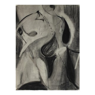 """""""New York"""" Monochromatic Abstract in Charcoal, 1950 For Sale"""