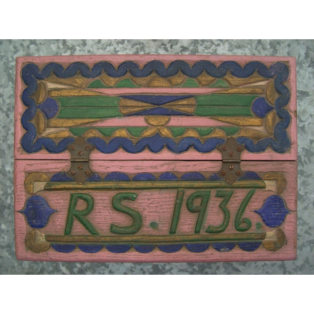 1936 Folk Art Carved and Painted Box - Image 2 of 7
