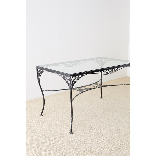 Salterini Style Wrought Iron Patio Garden Table For Sale - Image 10 of 13