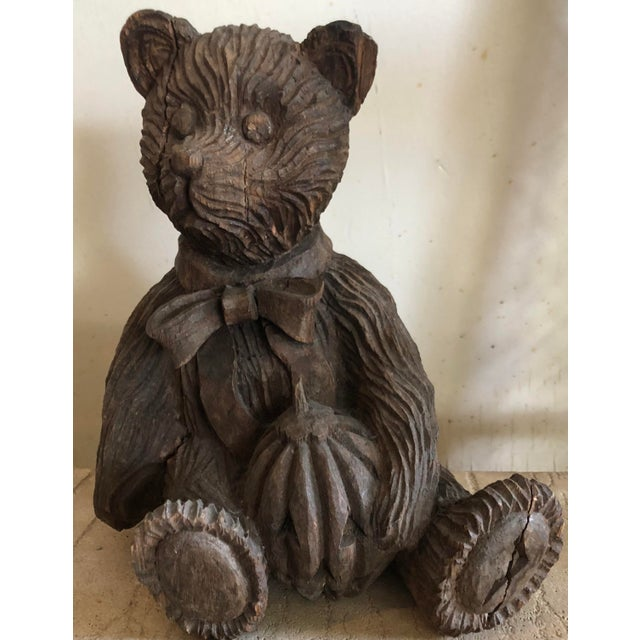 Adorable, Vintage, hand carved wooden bear. So charming and will add warmth to any space.