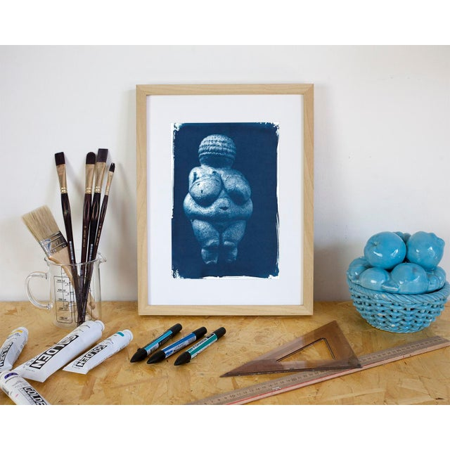 Venus of Willendorf Pre-historic Sculpture, Cyanotype on Watercolor Paper, A4 size (Limited Edition) For Sale - Image 4 of 4