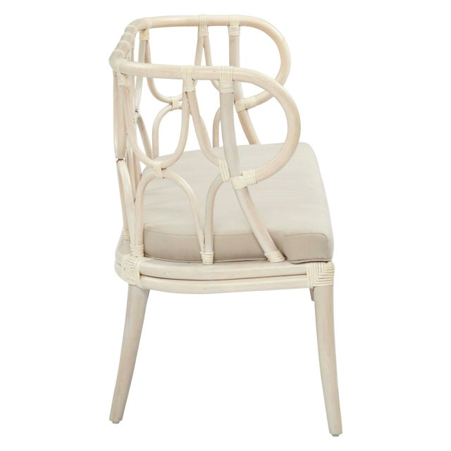 Simone Curved-Back Bench. Frame Color - Linen. Cushion Color - Linen. Chair weight limit 275 lbs.