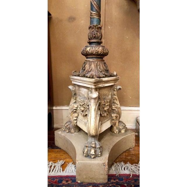 Italian Pair Magnificent Antique 18th Century Venetian Torcheres For Sale - Image 3 of 4