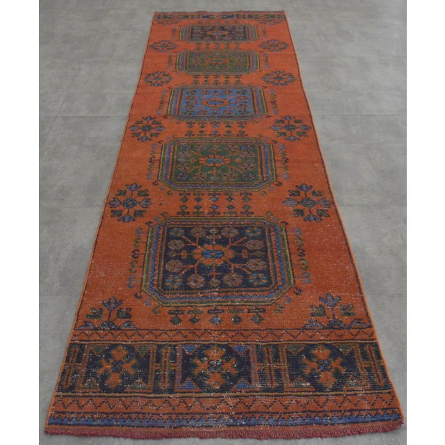 "Distressed Oushak Rug Runner - 3'1"" x 11'4"" - Image 2 of 10"