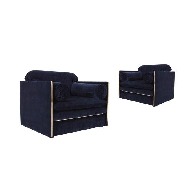 Italian Glam Armchairs in Dark Blue Velvet & Brass For Sale - Image 6 of 10