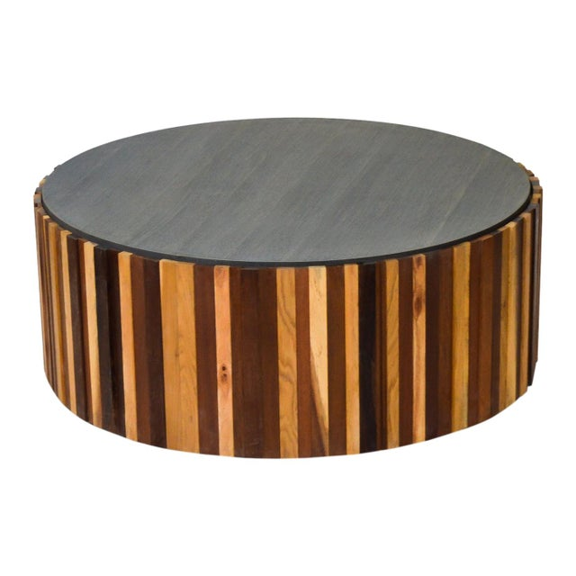 Wood Round Salvaged Wood Coffee Table For Sale - Image 7 of 7