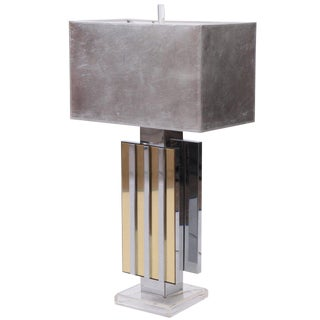 Chrome Brass and Lucite Table Lamp For Sale