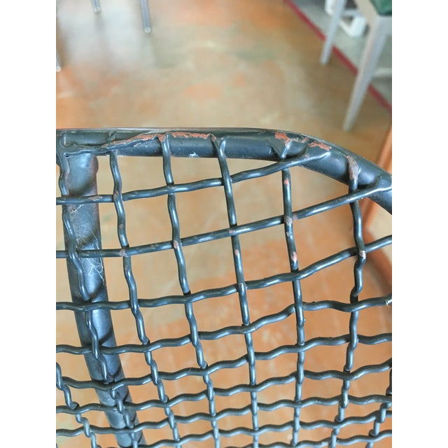This is a pair of wire Biscayne chairs for indoor or outdoor use. The pieces come with with two aftermarket black vinyl...