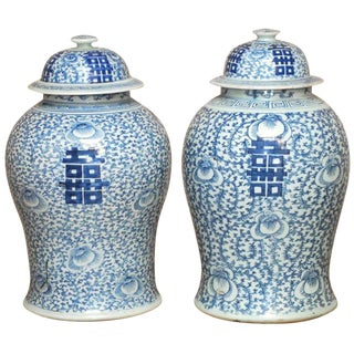 Pair of Chinese Qing Blue and White Ginger Jar Vases