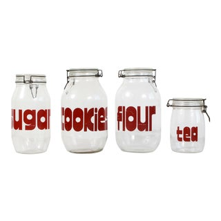 Vintage 1970s Pop Art Glass Kitchen Canisters - Set of 4 For Sale