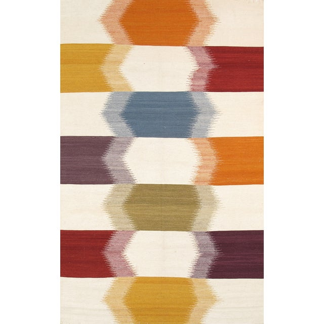 Modern Reversable Wool Kilim- 5' x 8' - Image 1 of 2